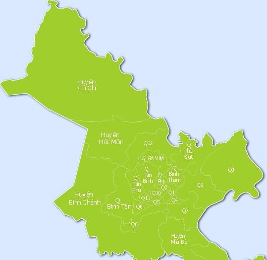 Các Quận, Huyện tại TP.HCM khác nhau ra sao về diện tích và dân số ?