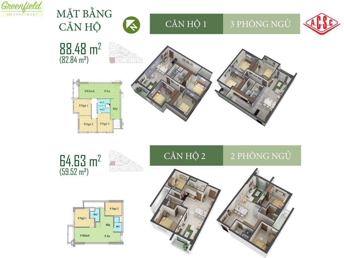 Cho thuê căn hộ chung cư GreenField 686