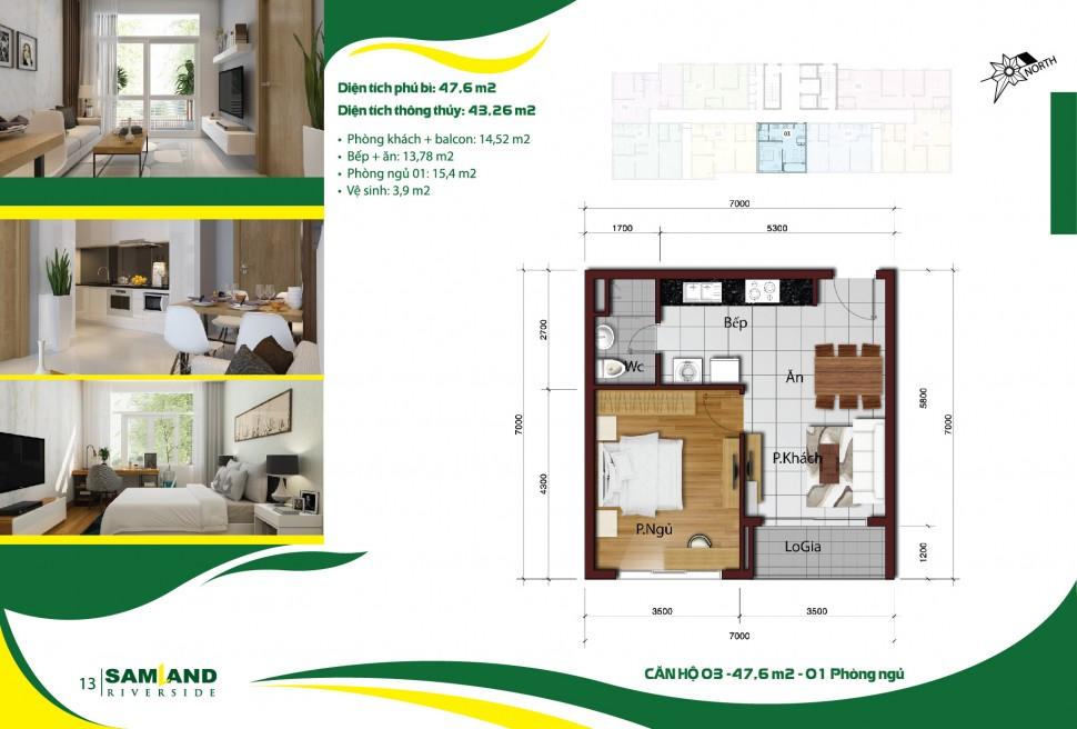 Cho thuê căn hộ chung cư Samland Riverside